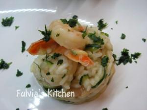 Risotto code di gamberi e zucchine