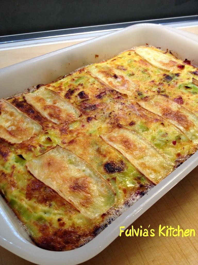 Frittata al forno con porri e pancetta