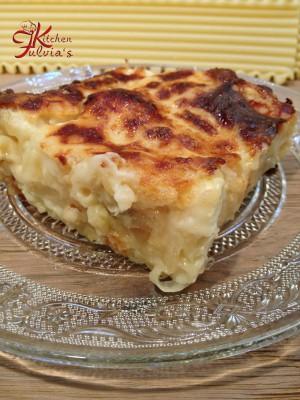 lasagne ai 4 formaggi e pere fritte