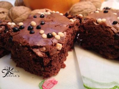 Brownies cioccolato fondente noci e arancia
