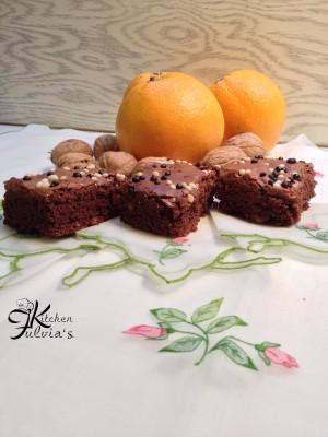Brownies cioccolato fondente noci e arancia1