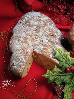 Brioche vegana Albero di Natale con frutta disidratata9