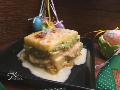 Millefoglie di polenta con creme di verdura e fonduta