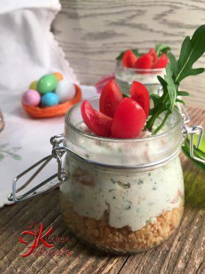 Mini cheesecake con burrata di bufala, ricotta e salmone