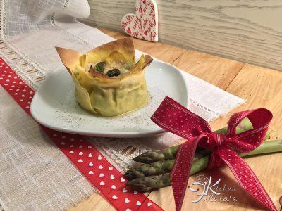 Cestini di lasagne agli asparagi e ricotta