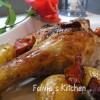 Coscia d'anatra al forno con verdure