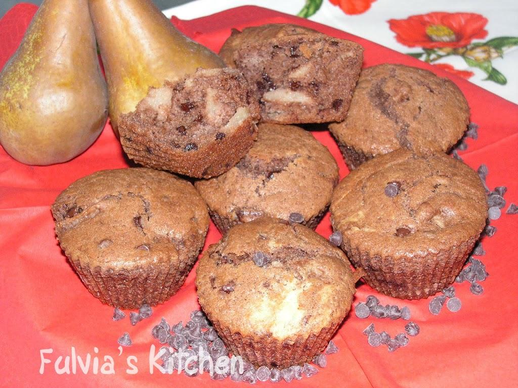 #Muffin con #pere e #cioccolato #fondente