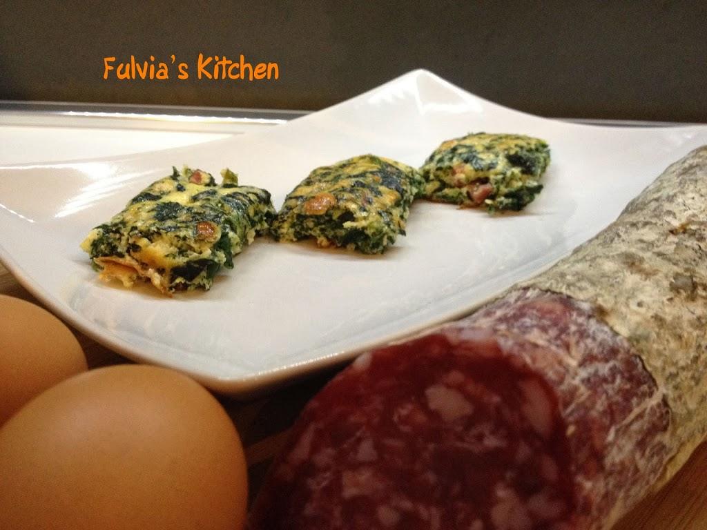 Cubetti di #frittata al forno con #spinaci