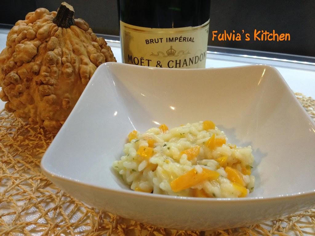 Risotto allo champagne con zucca la ricetta