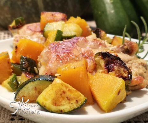Sovracosce di pollo al rosmarino con zucca e zucchine la ricetta