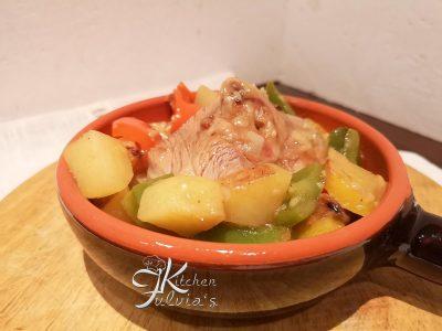 Ossibuchi di tacchino al marsala con peperoni e patate