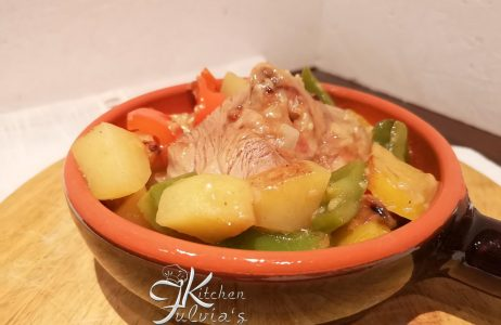 Ossibuchi di tacchino al marsala con peperoni e patate la ricetta