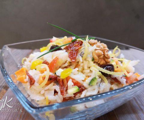 Insalata di riso Thai con verdure e baccalà la ricetta